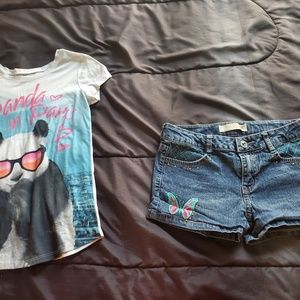 girl size 12 JUSTICE graphic tee denim shorts